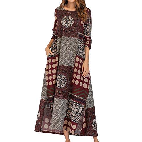 VJGOAL Damen Kleid, Damen Mode Boho 3/4 Ärmel Floral Kaftan Weiche Baumwolle Leinen lose Tasche herbstliche Langes Kleid (Rot, 46)