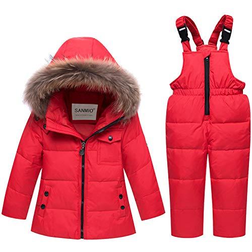 SANMIO Baby Mädchen Jungen Daunenjacke Schneeanzug mit Kaputze Bekleidungsset Kleinkind Verdickte Winterjacke + Winterhose Daunenhose Kinderskianzug