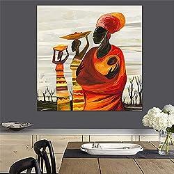 ZYWGG Impression sur Toile Image Quadric Style Égyptien Carré Toile Portrait Peinture Toile Tirages Photo Abstrait Décor Salle À Manger Décor