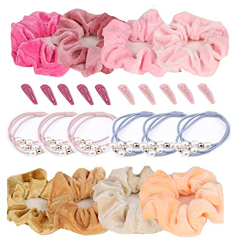 BSET BUY 24 Stücke Samt Haargummis Set,14 Stück Scrunchies Elastisches Gummibänder mit 10 Stück Haarspangen für Frauen oder Mädchen(warme Farbe) Haar Scrunchies