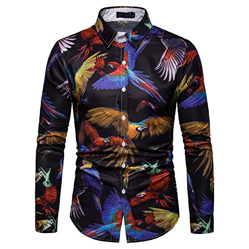 CHENS Langarm/Slim fit/Strand/XL Poker Shirt Spielkarten Kleidung Glücksspiel Hemden Las Vegas Freizeithemd Kleidung Tops Herren 3D Shirt