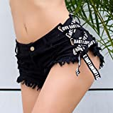 Onfly Frauen Jeans Shorts Hohe Taille Kreuz Lace Up Quaste Sexy Solide Brief Band Mini Denim Hot Pants Lässige Zerrissene Loch Nachtclub Strand Kurze Hosen (Color : Black, Größe : L)