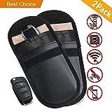 Carloo 2 Stück Amteker Strahlenschutz Tasche für Keyless Schlüssel, RFID Schutztasche Autoschlüsseletui, Faradaysche Tasche, Wifi/GSM/LTE/NFC Blocker (2 Stück, Schwarz)
