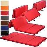 PROHEIM Klappmatratze Duo 195 x 120 x 7 cm komfortable Faltmatratze/Gästematratze mit Microfaserbezug bequemes Notbett/Gästebett, Farbe:Rot