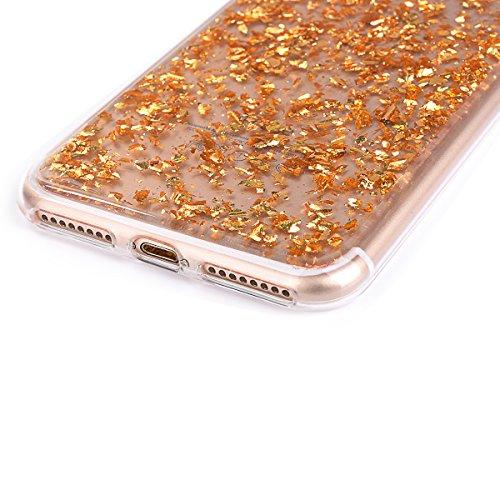 """iPhone 7Plus Handyhülle, iPhone 7Plus Liquid TPU Case, CLTPY Kreativ 3D Fließen Flüssig Bling Schwimmend Treibsand Herz, Glanz Shiny Kristallklar Schale Etui für 5.5"""" Apple iPhone 7Plus (Nicht iPhone  Gold"""