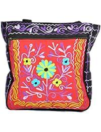 Mesdames coloré sac à bandoulière en toile avec broderie florale-BAG-106