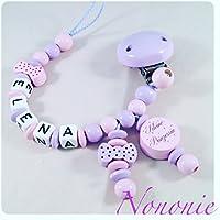 Schnullerkette mit NAMEN - Schleifen - kleine Prinzessin - flieder und babyrosa