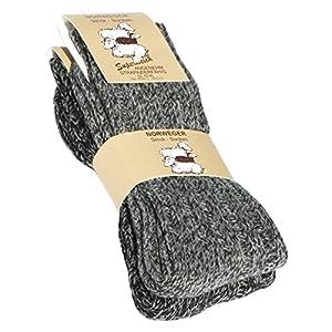 2 pairs mens chunky wool socks, norwegian thick winter socks