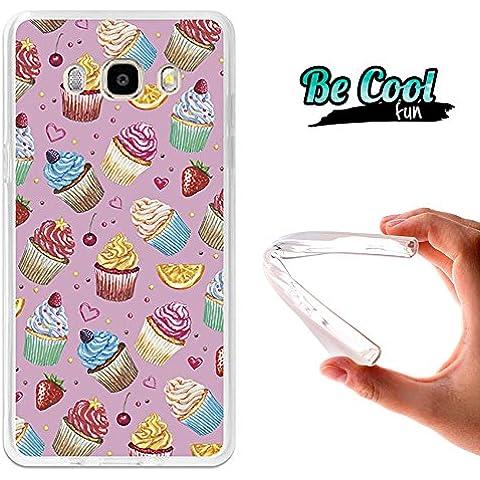 Becool® Fun - Funda Gel Flexible para Samsung Galaxy J5 2016 .Carcasa TPU fabricada con la mejor Silicona, protege y se adapta a la perfección a tu Smartphone y con nuestro diseño exclusivo Cupcakes y frutas