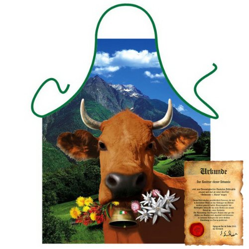 bedruckte Fun Grill Schürze – Motiv: Italienische braune Kuh – Spaß Grillschürze Kochschürze Weihnachten Tracht Nikolaus Küche
