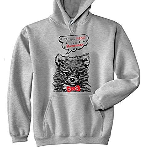 Teesquare1st Men's POMERANIAN ALL YOU NEED Grey Hoodie Size