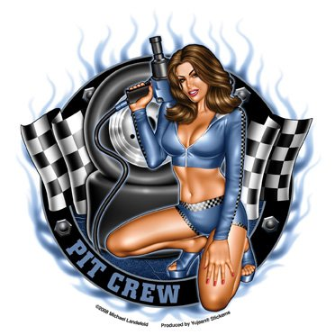 Michael Landefeld - Checkered Flags Pit Crew Girl Pinup PIN-UP etiket Sticker - 5