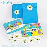 12 Einladungskarten zum Kindergeburtstag Mädchen Jungen lustige Monster incl. 12 Umschläge, 12 Tüten / blau, 12 Aufkleber Geburtstagseinladungen Einladungen Partyset