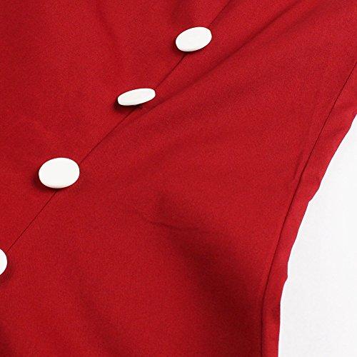 iShine A-Linien Kleider Damen knielang Kleider Skaterkleid Minikleid Ärmellose Kleider Kurz Partykleider mit Streifen Rot/Kurzarm
