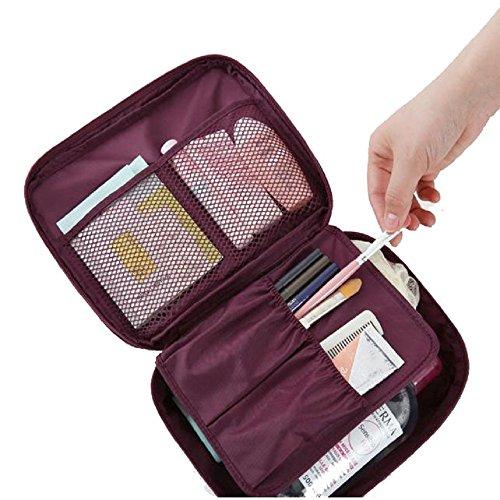 Covermason Makeup Étui de Rangement Cosmétique, Maquillage Professionnel Ensemble Portable Sac de Rangement Pinceaux avec Diviseurs Réglables (220 x 180 x 9 mm/ 10 x 7.2 x 3.6 inch, Rouge)