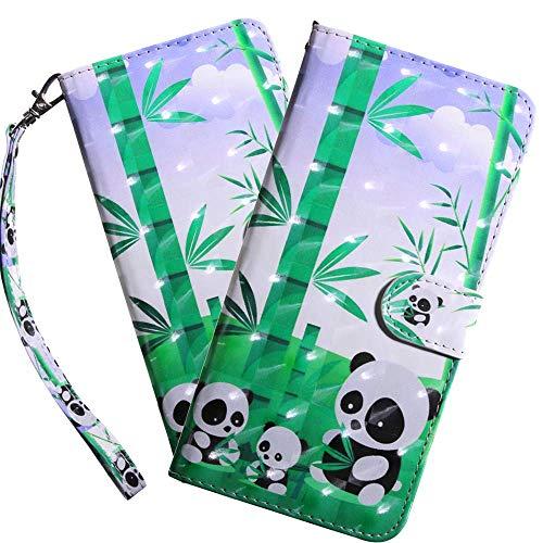 HMTECH LG K50 Hülle,Für LG Q60 / LG K50 Handyhülle 3D Netter Panda Flip Case PU Leder Cover Magnet Schutzhülle Tasche Ständer Handytasche für LG Q60 / LG K50,BX Little Panda