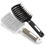 Haarbürste Wildschweinborsten, gebogene Vent Haarbürste, Eberborsten Haarentwirrende Bürste geeignet für dick, dünn, lockig & nasse Haare, Ventbürste ideal zum Entwirren von dickem Haar, Lüftungsschlitze für schnelleres Trocknen (2)