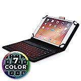 Funda con Teclado para HP 7 Plus, 8 Tablet, 8 G2, Mesquite - Cooper Backlight Executive Carcasa de Cuero 2 en 1, Teclado Bluetooth inalámbrico con retroiluminación LED, 7 Colores (Oro Rosa)