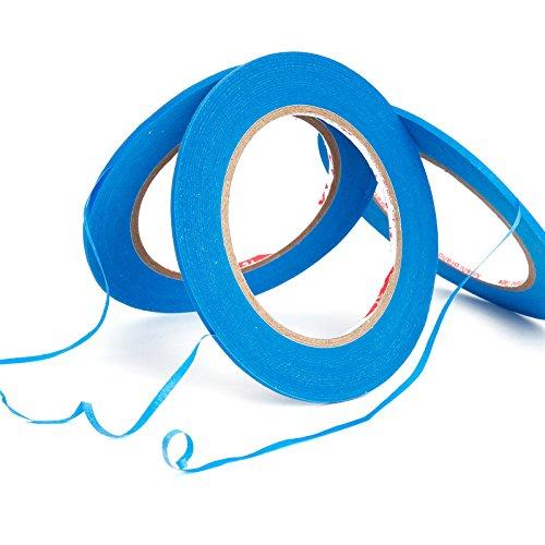 3 Set Rollen Zierstreifenband Zierlinienband Konturenband Farblinienband Klebeband Maler Lackierer Airbrush Masking Tape Band 3 mm x 55 m Blau fuer Auto Lackierungen