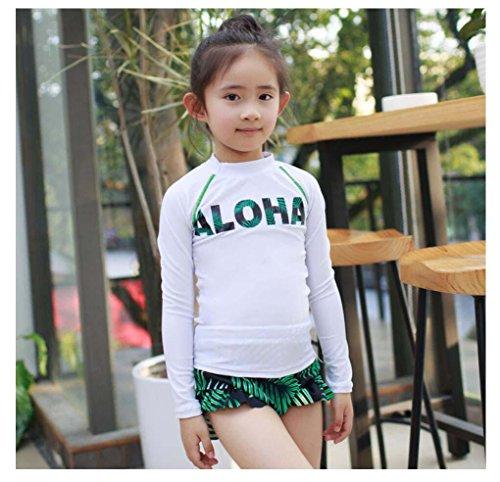 HJXJXJX Strand Sonnencreme Langarm-Kinder-Badeanzug 2-10-jährige hoch-elastische Mädchen Bikini dreiteilig , white , (Zwei Für Niedliche Jährige Kostüme)