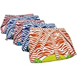 GoodStart Reusable Padded Hosiery Cotton Baby Nappies In Tiger Print- Set Of 5, (3-6 Months)