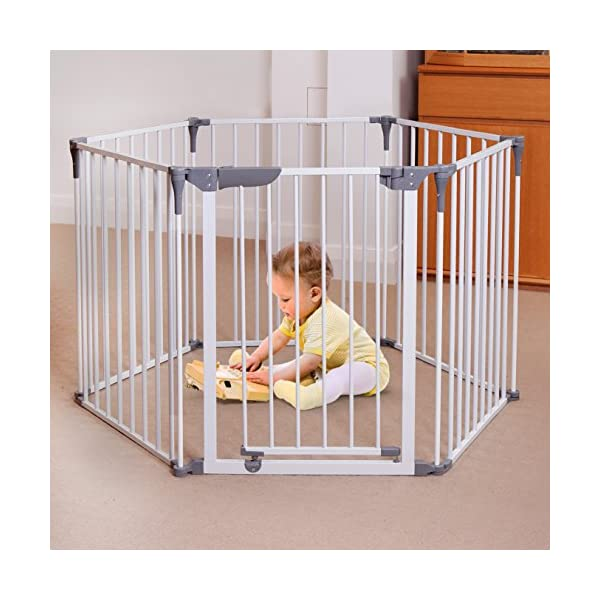 Dreambaby Royale Converta 3 in 1 Playpen, fireguard, and Room Divider (fits up to 3.8m) White Dreambaby DETAILS:  6 configurable panels, measuring a total of 3.8m wide and standing 74cm tall. Additional extension panels (F1950 -sold separately) can be quickly and easily added. Wall brackets included. Complies with the latest EU Safety Standard 12227. VERSATILE: Can be installed as a freestanding Playpen, a hardware-mounted Fireguard or an extra-wide Barrier Gate for small children or pets. You can keep everyone safer, right where you want them. STAY-OPEN DOOR: One of the six panels of this gate is equipped with a Smart Stay-Open Door. This allows you to move freely while your child is down for a nap. Ideal for when you need quick access for 'toy clean up' time. 3