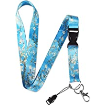 Dealikee Lanyards, Bright Waves Lanyard with Buckle and Metal Ring, Premium Breakaway Lanyard for