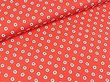Swafing Steinbeck Webware Dots weiß-rosa auf Rot