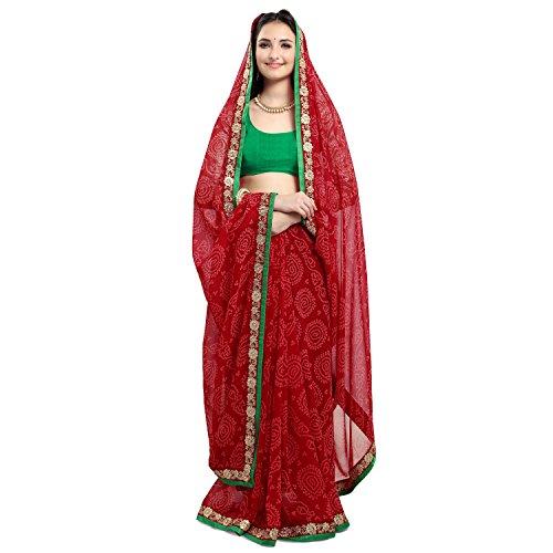 Jaanvi fashion Women's Chiffon Saree With Blouse Piece (Firangi-Bandhani-Red)