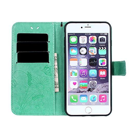 Custodia iPhone 7 Plus, iPhone 7 Plus Cover, ikasus® iPhone 7 Plus Custodia Cover [PU Leather] [Shock-Absorption] Goffratura Fiore Farfalla e Datazione Ant Protettiva Portafoglio Cover Custodia colore Verde
