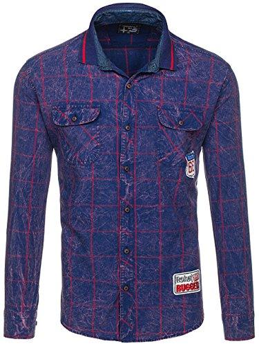 BOLF Mens chemise en casual shirt hommes Scène Slim Fit Classique 2B2 Bleu fonce-rogue