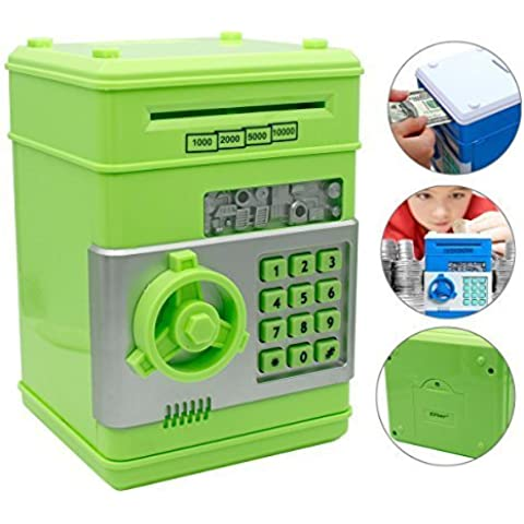 Eflar Code Electronic Money Bank,Mini ATM Coin Saving Banks,Coin Saving Boxes,Toys Gifts Birthday Gifts ATM Bank for Kids - Green by Eflar