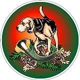 Adhesivo 10cm Caza Cuerno con perro en Frost pantalla con efecto nácar