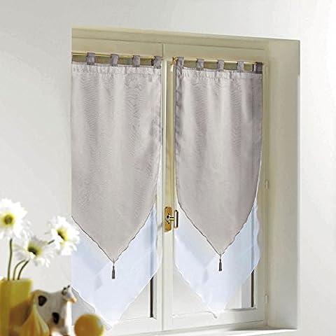 Rideaux 45x180 - Douceur d'Intérieur Paire Pompon Voile Polyester Blanc/Gris