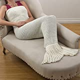 SARO LIFESTYLE Saunders-Roe Lifestyle Grobstrick Meerjungfrau Schwanz Design Überwurf Decke, acryl, elfenbeinfarben, 31