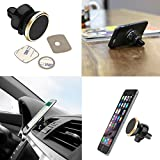 #8: DMG Universal Dashboard Magnetic 360 Rotating Smart Mobile Phone Mount Car Cell Phone Holder With Three Metallic Plates (Multicolour)