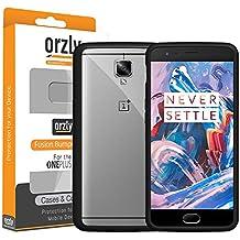 Orzly® FUSION Bumper Case para OnePlus 3 (OnePlus TRES) SmartPhone (2016 Modelo) - Funda Dura Protectora con absorción de impactos NEGRO goma Rim y completo transparente Panel posterior