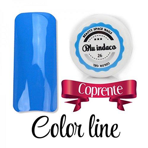 Color Line – Couleur couvrante et effet verre – Gel UV coloré 5 ml, reconstruction de faux ongles bleu