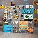SmartKids-2 Baby Aktivität Board Lock Latch Montessori Geschicklichkeit beschäftigt Spielzeug Holz Entwicklung lernen sensorische Stapeln Peg Puzzle Spiel Toddler Boy Girl aus Holz (grau)