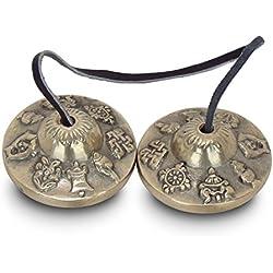 Zap Impex ® - Platillos de meditación tibetana (50 milímetros, 8 símbolos de la fortuna grabados)