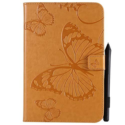 ANNFENG Mode Retro Schmetterling Blumenmuster PU-Leder-Mappe Anti-Kratzschutz-Schutzhülle für iPad Mini 1/2/3/4, mit Kartensteckplatz-Kartenhalter Abdeckung (Farbe : Gelb) (3 Gummi-anmerkung Telefon-abdeckungen)