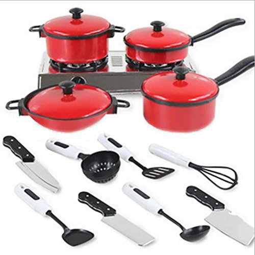Ularma 13 Pcs Children's Kitchen House Pretend Play Toy Cookware Utensils Food Cooking Kits Environment-friendly Plastic