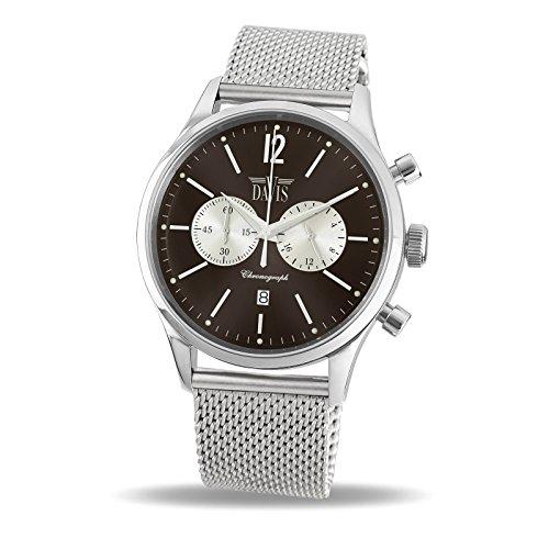 Davis 1752MB-Orologio Sport Uomo Vintage Cronografo Quadrante Acciaio...