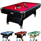 """8 ft Billardtisch """"Premium"""" + Zubehör, 9 Farbvarianten, 244x132x82 cm (LxBxH), schwarzes Dekor, rotes Tuch"""