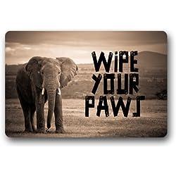 Generic Machine Clean Top Fabric & Non-Slip Rubber Backing Durable Indoor/Outdoor Doormat Door Mats - Wipe Your Paws Elephant Walk to Me Close Up Wonderful Design (Gray/Grey)