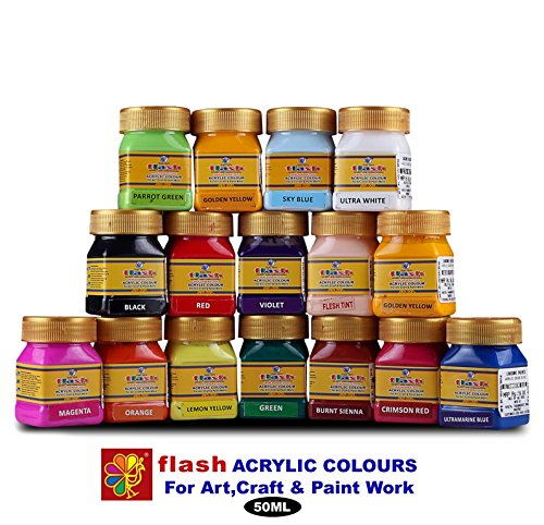 Flash Acrylic Colour Set (16 Colours) 50 ML