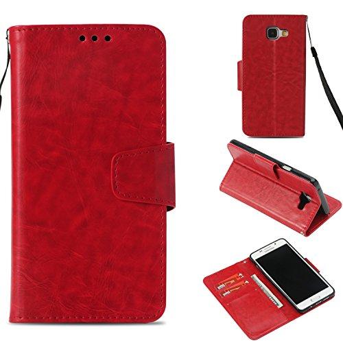 BoxTii Galaxy A5 2016 Hülle, Standfunktion PU Leder Etui mit [Frei Panzerglas Displayschutzfolie] [Kartenfach] für Samsung Galaxy A5 2016 (Rot)