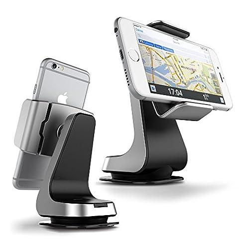 Support voiture / Auto universel, VRS Design [Hybrid Grab][Silver] - [Rotation Ball 360°][Haute fixation à pattes][Divers angles de vues][Haute fixation] Compatible Apple et Android - Silver