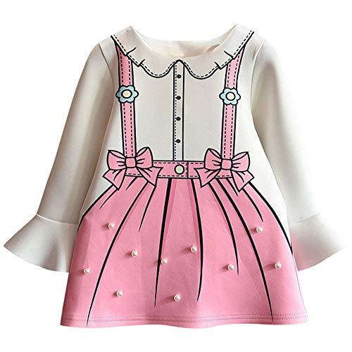 Lenfesh Kleinkind Kinder Baby Mädchen Perle verzieren Kleid Flare Sleeve Bow Prinzessin Kleid Niedlich Baby Mädchen Langarm Kleider
