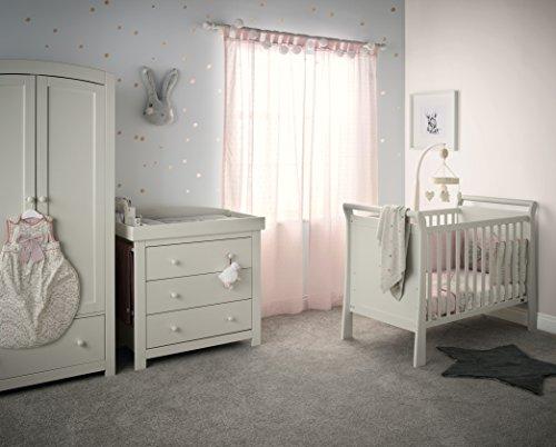 Mamas & Papas Mia Sleigh 2 Nursery Furniture Set with Cot & Dresser/Changer - Pebble Grey